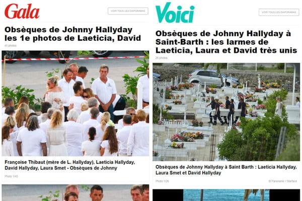 Des diaporamas des obsèques dans la presse people - Obsèques de Johnny Hallyday ©Captures Gala & Voici