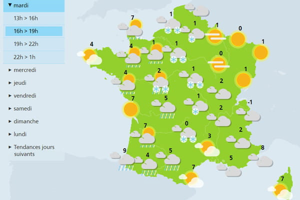 Prévisions de Météo France : retour de la neige en France - Neige en France ©Météo France