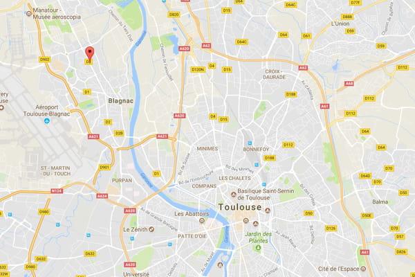 Le lieu où la voiture bélier a fauché trois étudiants chinois - Blagnac : attentat ou coup de folie ©Capture Google Maps