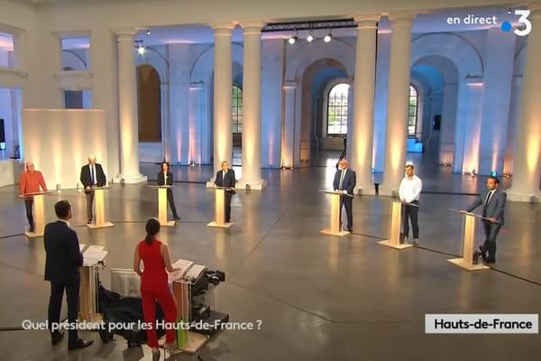Capture d'écran du débat des candidats aux élections régionales dans les Hauts-de-France, diffusé sur France 3