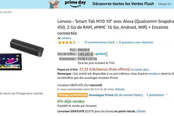 177b5538d0135 La tablette Lenovo Smart Tab M10 10 + enceinte connectée à -29% - Amazon